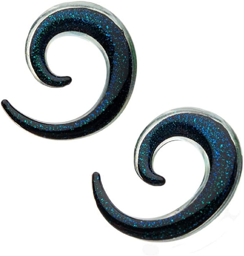 Pierced Owl Blue Glass Sparkle Spiral Taper Plugs Sold as a Pair