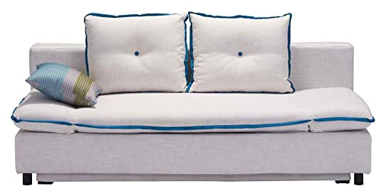Zuo Modern Serenity Sleeper Sofa in Natural with Blue Piping