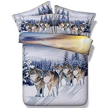 Image of Alicemall 3D Wolf Bedding Set Full Size Lifelike Snow Wolf Digital Printing 5-Piece Comforter Sets for boys and Girls (Full) Home and Kitchen