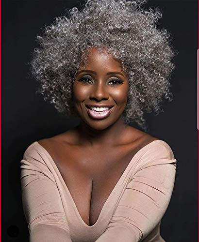 Lissom Synthetic Afro Wigs for Women Short Kinky Curly Wig with Bangs Ombre Silver Grey Heat Resistant Fiber Natural Hair for Black Women -