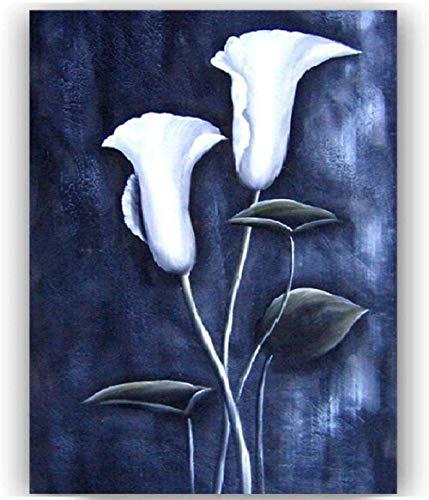 Wallpaper M Cuadro de Flor de tulipan Blanco Vintage DIY Pintura al oleo por numero decoracion del hogar Regalo para Colorear Digital Pintado a Mano Pintura unica Lienzo Pincel preprint 40X50Cm