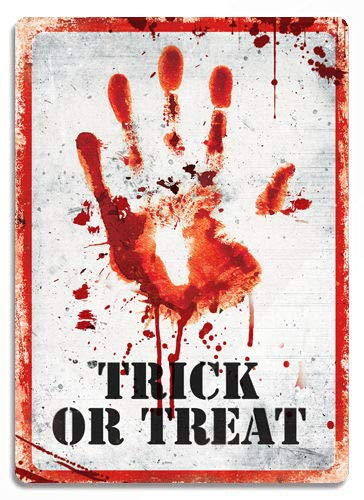 Price comparison product image PotteLove Bloody Hand Print - Trick Or Treat Metal Wall Sign Plaque Haloween