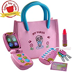 Playkidz My First Purse – Pretend Play Princess Set for Girls with Handbag, Flip Phone, Light Up Remote with Keys, Play Lipstick & Kids Credit Card – Great Educational Toy for Fun & Learning