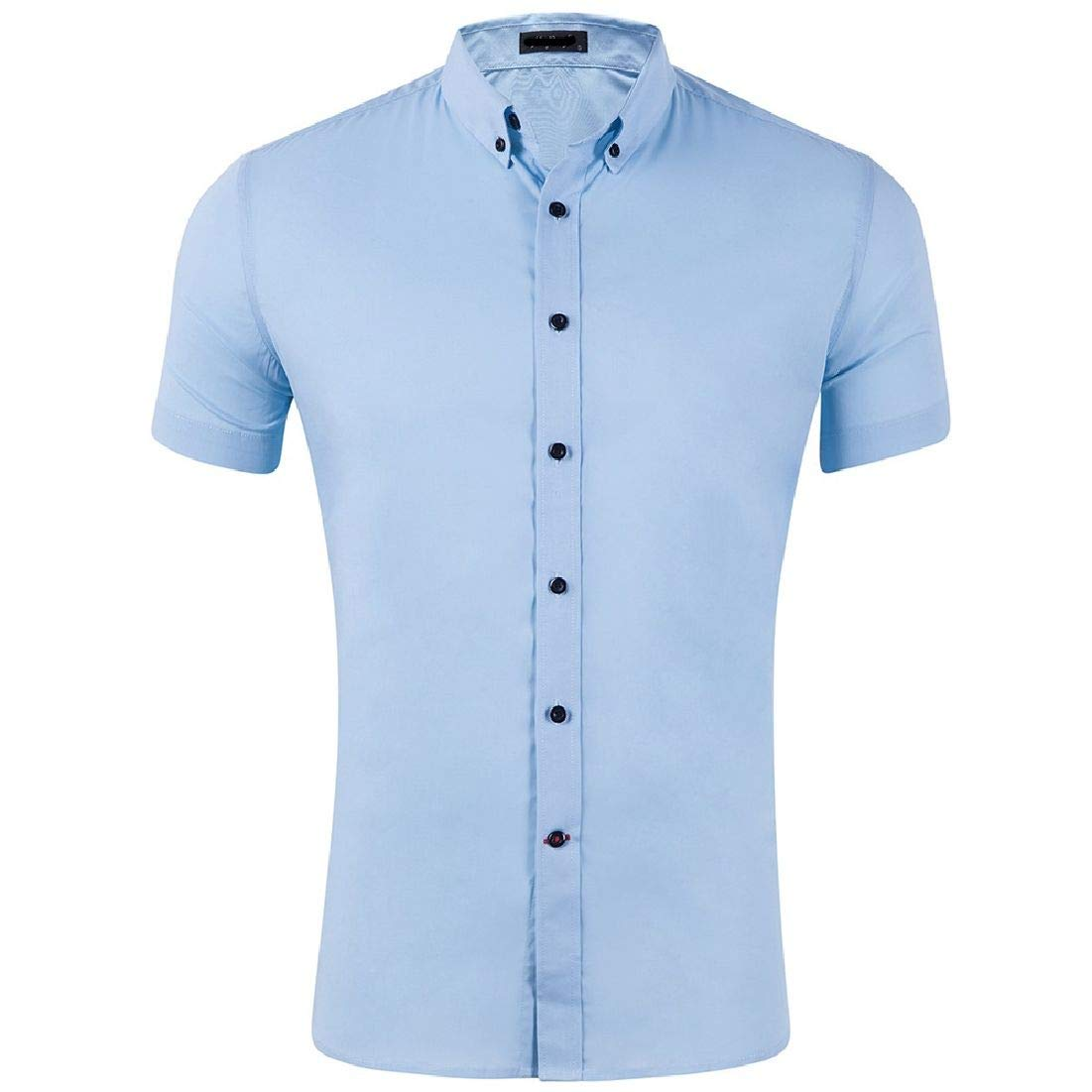 Domple Mens Button Down Wrinkle-Free Casual Short Sleeve Casual Dress Shirt