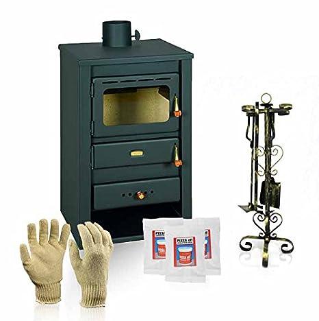 Estufa de leña Prity, Modelo K22 CP, salida de calor 10 kW, patas, hierro fundido placa superior: Amazon.es: Bricolaje y herramientas