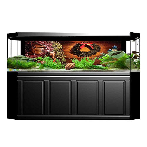 JiahongPan Background Fish Tank Decorations Western Design with Cowboy Boots and in Cabin Lodge Brown Fish Tank Backdrop Static Cling Wallpaper Sticker L23.6 x H19.6