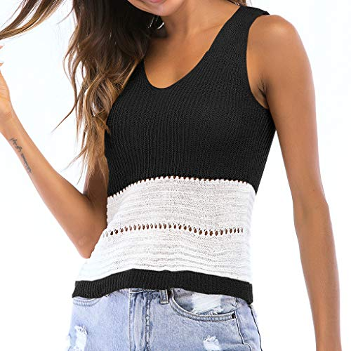 Cloth Vest Shooting (Sunhusing Womens Openwork Color Matching V-Neck Knitted Sleeveless Vest Tank Top Slim Fit Blouse Black)