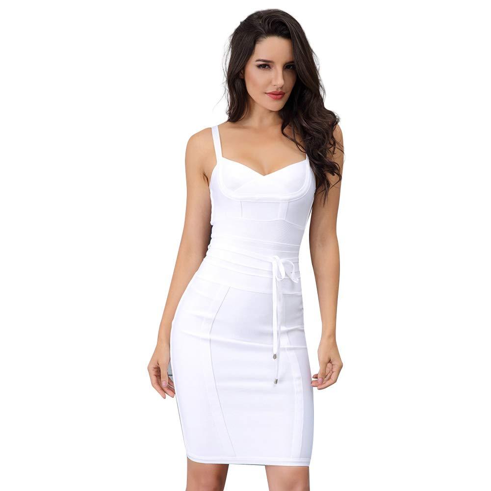 Lovelychica Women's V Neck Dress Sexy Backless Sleeveless Waist tie Slim Wrap Bodycon White