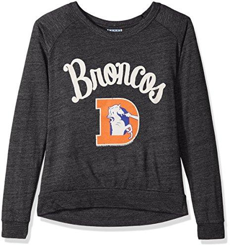 NFL Denver Broncos Women's Long Sleeve Tee, X-Small, Charcoal Heather