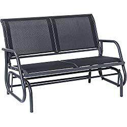 SUPERJARE Outdoor Swing Glider Chair, Patio Bench for 2 Person, Garden Rocking Seating - Dark Gray
