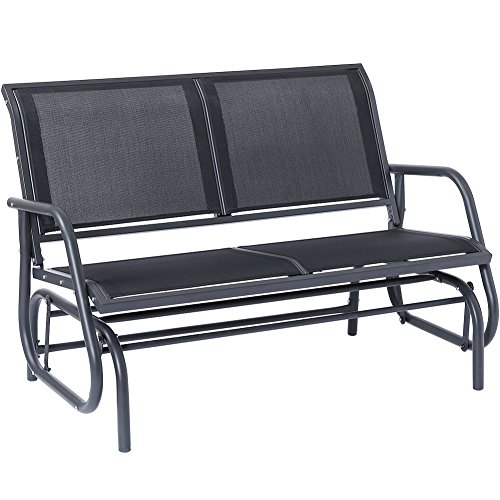 SUPERJARE Outdoor Swing Glider Chair, Patio Bench for 2 Person, Garden Rocking Seating - Dark Gray -