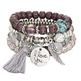 Women Hot Jewelry Multi-Layer Colorful Beads Coin Tassel Bracelets Metal Charm Bracelet Gift for Girls Mens Teens Student Best Friend Forever(A)