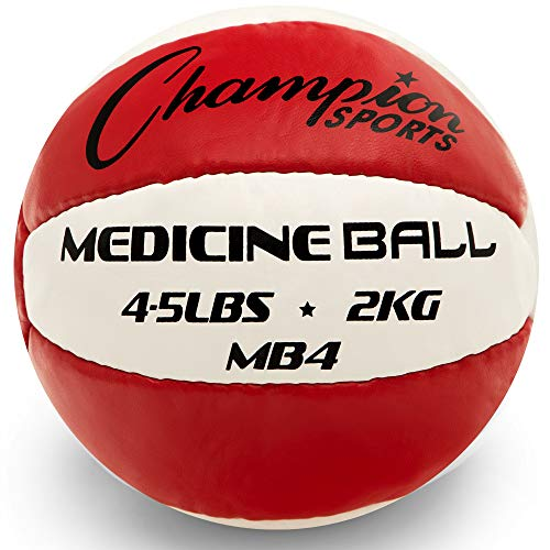 Champion Sports Exercise Medicine Balls, 4-5 lbs, Leather with No-Slip Grip - Weighted Med Ball Set for Weight Training, Stability, Plyometrics, Cross Training, Core Strength - Heavy Workout Ball