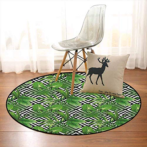 - Banana Leaf Non-Slip Absorbent Carpet Coconut Palm Tree on Modern Abstract Backdrop Rainforest Design Better underfoot Protection D39.7 Inch Black White Hunter Green