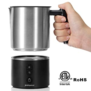 JIMHOMNI Detachable Milk Frother,Eletric Milk Steamer Foam Maker for Latte,Cappuccino,Chocolate,Macciato,Automatic Milk Frother and Heater w/Hot Cold Functionality(Silver Black)