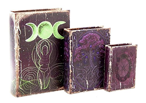 - Bellaa 28229 Book Box Secret Triple Goddess Crescent Moon Stash The Celtic Tree of Life Pentacle Wicca Pagan
