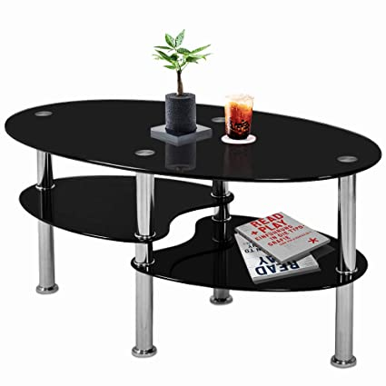 Pleasing Nidouillet 3 Tier Tempered Glass Table With Glass Shelves And Stainless Steel Legs Oval Shaped Coffee Table Living Room Home Furniture 35 4 X 19 7 Download Free Architecture Designs Sospemadebymaigaardcom