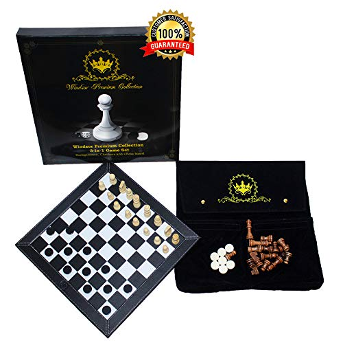 Windsor Premium Collection 3-in-1 Game Set | Portable Deluxe Checkers, Chess & Backgammon Tabletop Travel Bundle | Made with PU Leather | Comes in Beautiful Velvet Storage Pouch