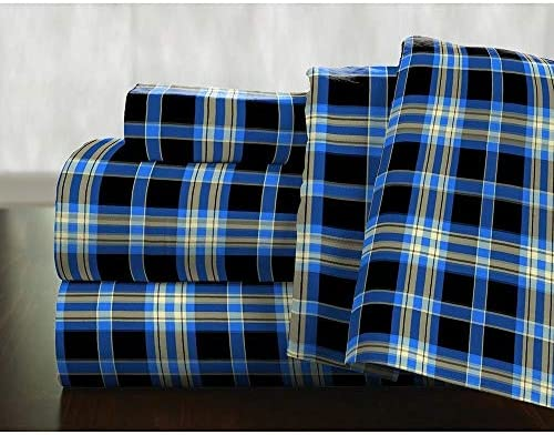 HNU 4 Piece Cabin Lodge Style Taupe Plaid Sheets Full Size Breathable Lightweight Plush Feel Luxurious Beautiful Vibrant Color Tartan Checkered Design 155 GSM Super Soft Flannel Bed Sheets