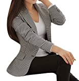Enlishop Women's Elegant Long Sleeve Slim Fit Black White Plaid Blazer Jacket