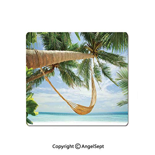 Mouse Pad,View of Nice Hammock with Palms by The Ocean Sandy Shore Exotic Artsy Print Decorative,Standard Computer Mouse Pad with Neoprene Backing and Cloth Surface,8.26x10.23 Inch,Green Cream Blue
