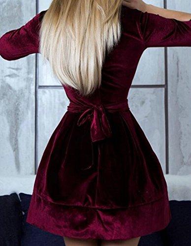 Cromoncent Femmes Ourlet Mignon Évasé Solides Occasionnels Robes Courtes En Velours Rouge Vin