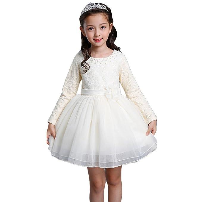 Vestidos Niñas Vestido Princesa - Vestido Otoño Manga Larga Vestidos Encaje Fiesta Cumpleaños Festivales Boda Rojo Blanco Beige 110CM - 160CM Yuxin: ...