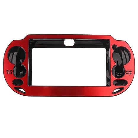 MagiDeal Cubierta Protector Plateada Cepillada Cubierta Caja Carcasa para Sony PS Vita psv1000 - Rojo