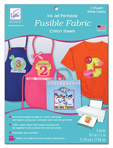 June Tailor Fusible Fabric Ink Jet Printable Cotton Sheets, 8-1/2 by 11-Inch, (June Tailor Inkjet Fabric Sheet)