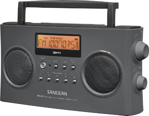 Sangean PR-D15 FM-Stereo/AM Rechargeable Portable Radio with Handle (Gray)