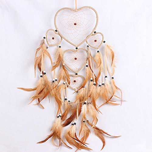 Dream Catcher, Handmade Heart Shaped Feather Dream Catcher, Crystal Heart Dream Catcher with Beads Hanging Ornament Decor for Bedroom Wall Car (5 Circles) - Crystal Circle Shape Ornament