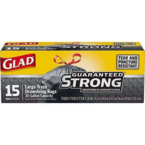 Glad Large Drawstring Trash Bags - Extra Strong 30 Gallon Black Trash Bag - 15 Count