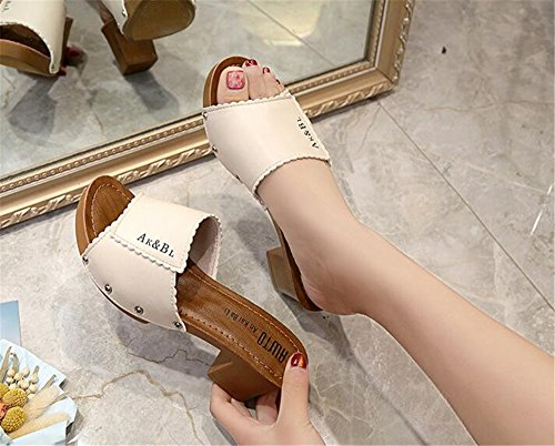 Platform BY0NE Beige Clogs Peep Dress Mules Chunky Slip Heel Women Slide Shoes on Toe Sandals wrxXPr6q