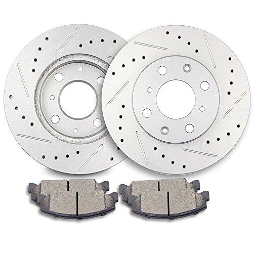 ECCPP Brakes and Rotors, 2pcs Front Discs Brake Rotors and 4pcs Ceramic Disc Brake Pads Set for 1990-2000 Honda Civic,1993-1997 Honda Civic del Sol ()