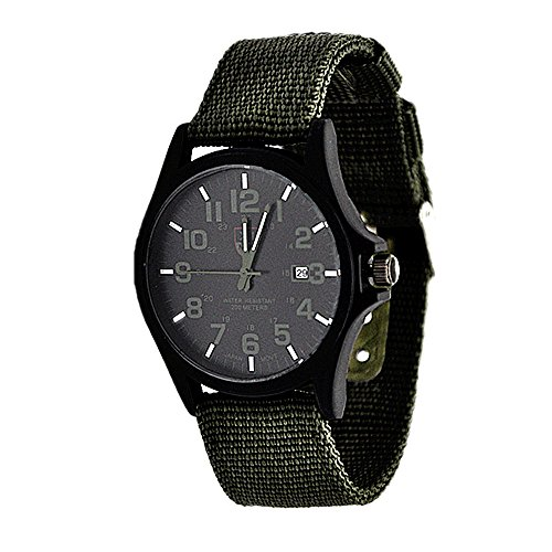 MINILUJIA Simple Style Outdoors Sports atch Date Function Men's Business Watch with Canvas Strap (army green) (Watch Fan Gear)