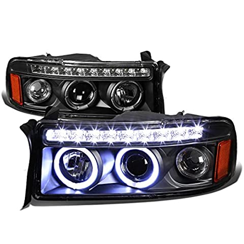 Dodge Ram BR/BE Dual Halo Projector LED Headlight Assembly Kit (Black Housing Amber Reflector) - Dodge Van Headlight Assembly