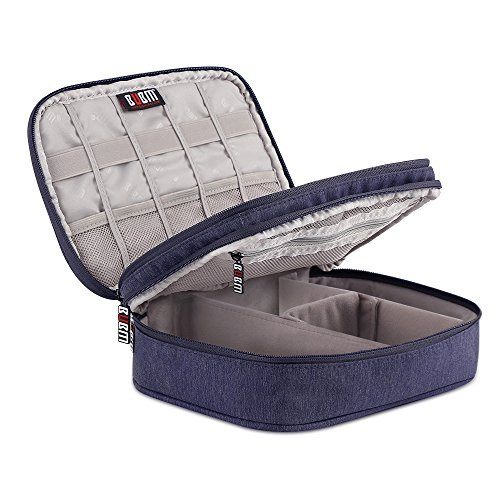 Electronic Organizer Travel Cable Organizer Bag Double Layer Gaget Carry Case for 7.9 Inch iPad Mini 1/2/3/4 Cables Phone Chargers Memory Cards Earphones Flash Hard Drive ( Dark Blue,Small)