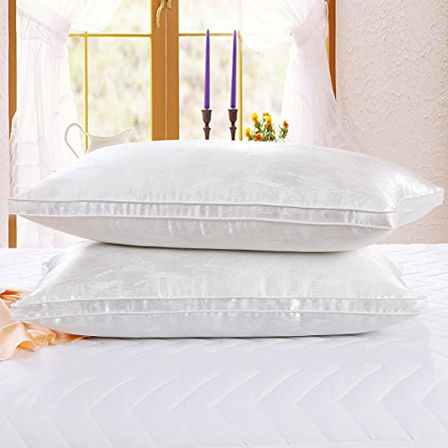 Bed Pillows 2 Pack, Larnn Soft Bedding Pillows, Dust Mite Repellent Silk Fabric and Feather Velv ...