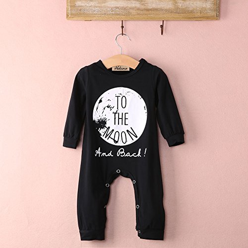 Yannzi Unisex Infant Baby Cotton Long Sleeve Rompers Footless Coverall Bodysuits Jumpsuit Clothes (80(3-12 Months), Black)