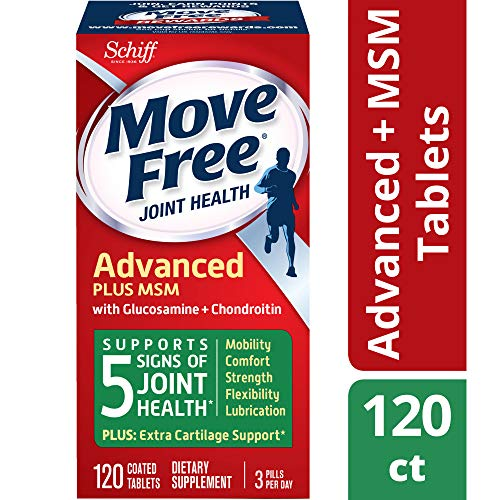 Glucosamine & Chondroiton Plus MSM Advanced Joint Health Supplement Tablets, Move Free (120 count in a bottle), Supports Mobility, Flexibility, Strength, Lubrication and - Plus Tablets Joint Support 120