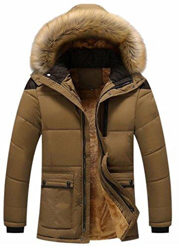 UK Fur Coat Parka Faux 2 Lined Fleece Hooded today Men's Jacket Outwear Zx6CC