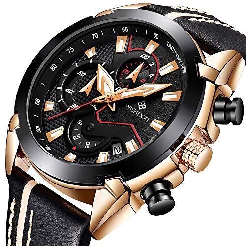 Men's Watches Fashion Analog Quartz Watch Date Business Chronograph Dress Luxury Brand Black Leather Wristwatch Gents Sport Waterproof Wristwatch