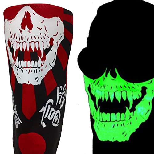 pire Fangs VELCROBrand Adjustable Reversible Japanese Flag Black Red Skull Face Motorcycle Rider Wind Sun Dust Mask Fits Adults and Kids Heads Circumference 18-25 inches ()