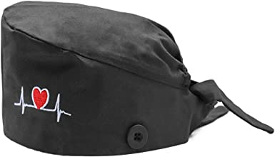 Mwfus One Size Women Working Cap with Buttons Multiple Patterns Bouffant Hat Ajustable Lace-up Cotton Sweatband