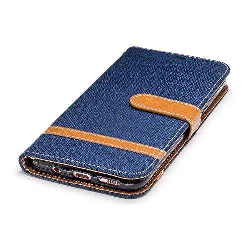 Samsung Galaxy S8 Plus Funda Gris, MEETER Libro PU Cuero Case Con Flip case cover, Cierre Magnético, Función de Soporte, Tarjeta y efectivo titular, Billetera con Tapa para Samsung Galaxy S8 Plus, Col Azul oscuro