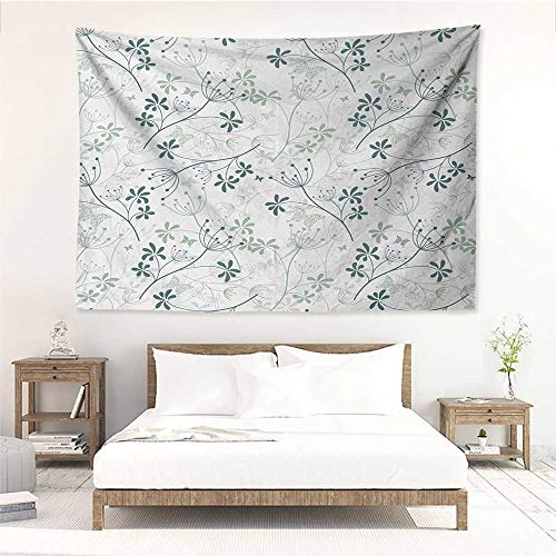 alisos Floral,Wall Decor Tapestry Spring Branches Herbs Woodland Plants Eco Butterflies Inspiration Theme 84W x 70L Inch Tapestry Wallpaper Home Decor Reseda Green Slate -