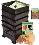 Worm Factory DS4BT 4-Tray Worm Composting Bin + Bonus ''What Can Red Wigglers Eat?'' Infographic Refrigerator Magnet - Vermicomposting Container System - Live Worm Farm Starter Kit for Kids & Adults