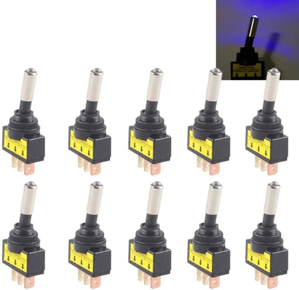 Mintice 10 X Kfz Auto Kippschalter Schalter Wippschalter 12v Blau Led Licht Lampe Beleuchtet Spst 3 Polig Auto