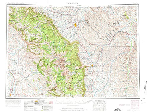YellowMaps Sheridan WY topo map, 1:250000 Scale, 1 X 2 Degree, Historical, 1955, Updated 1973, 21.8 x 28.7 in - Tyvek