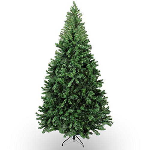 Belleze 7.5-feet Premium Christmas Tree Artificial Hinged Unlit w/Solid Metal Legs 1380 Tips Easy Assembly, (7.5 feet)